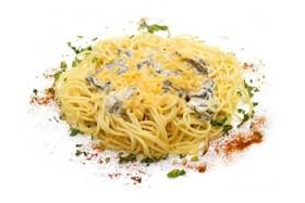 Спагетти с сыром и грибами - Фото