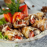 Рулетики из баклажан с помидорами Фото