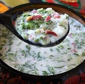 Окрошка мясная на квасе - Фото