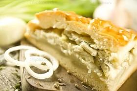 Пирог с рыбой и рисом - Фото