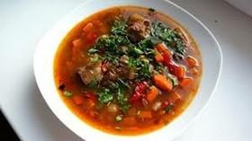 Суп с бараниной и красной фасолью - Фото