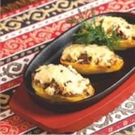 Картофель запеченый с грибами и сыром Фото