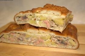 Пирог с кетой и картофелем (рисом) - Фото