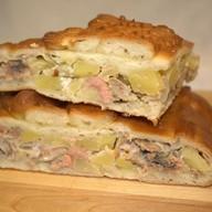 Пирог с кетой и картофелем (рисом) Фото
