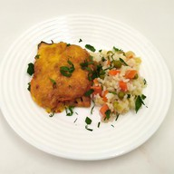 Горбуша запеченная с рисом и овощами Фото