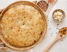 Пирог с курицей, сыром и грибами - Фото