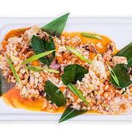 Морепродукты под соусом карри с рисом Фото