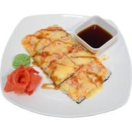 Японская пицца с курицей и шампиньонами Фото