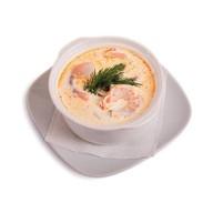 Сливочный суп с тигровыми креветками Фото