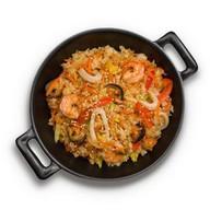 Рис с морепродуктами в соусе терияки Фото