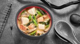 Мисо суп сливочный с лососем - Фото