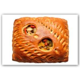 Пирог с ветчиной, сыром и помидорами - Фото