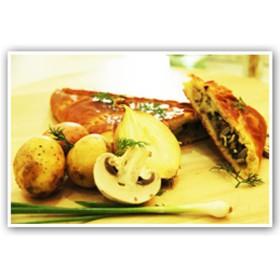 Бездрожжевой с картофелем и грибами - Фото