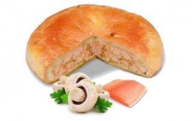 Пирог с лососем и грибами - Фото