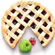 Песочный пирог с яблоком и малиной Фото