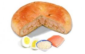 Пирог с лососем рисом и яйцом - Фото