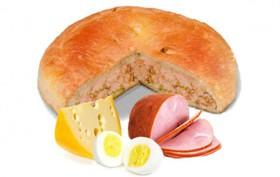 Пирог с ветчиной, сыром и яйцом - Фото