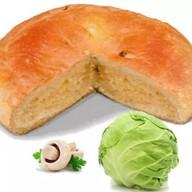 Постный пирог с капустой и грибами Фото