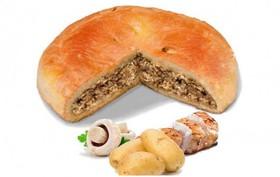 Пирог с курицей, картошкой и грибами - Фото