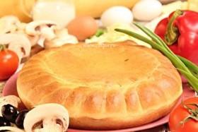 Пирог пицца с грибами - Фото