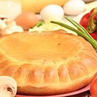Пирог пицца с грибами Фото