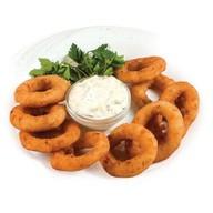 Луковые кольца с сырным соусом Фото