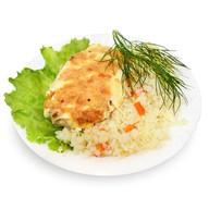 Курица запечённая с овощами Фото