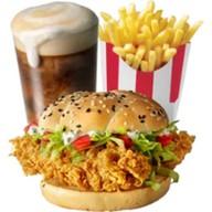 Шефбургер + картофель фри + капучино Фото