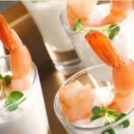 Креветка в йогурте в шоте Фото