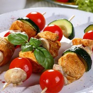Шашлык овощной с шампиньонами Фото