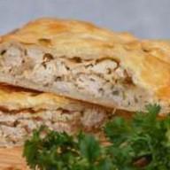 Пирог с курицей,картофелем слоеное тесто Фото