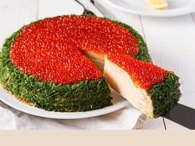 Торт с красной икрой и блинами(за сутки) - Фото