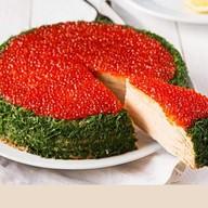 Торт с красной икрой и блинами(за сутки) Фото