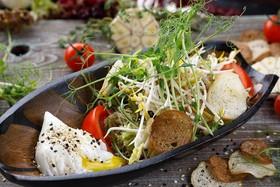 Салат с курицей терияки и яйцом пашот - Фото