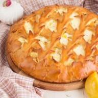 Пирог с творогом, зефиром и персиками Фото