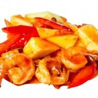 Тигровые креветки в кисло-сладком соусе Фото