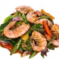 Креветки в ХО соусе с овощами Фото