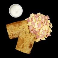 Блины по-домашнему с сыром и ветчиной Фото