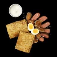 Блины по-домашнему с мясом и яйцом Фото