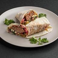 Кебаб из свинины и говядины в лаваше Фото