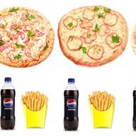 3 пиццы + 3 напитка + 3 картошки фри Фото