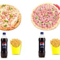 2 пиццы + 2 напитка + 2 картошки фри Фото