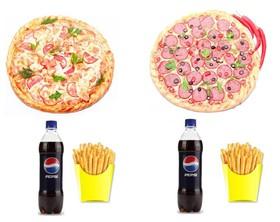2 пиццы + 2 напитка + 2 картошки фри - Фото