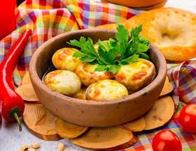 Жареные грибы по сыром сулугуни - Фото