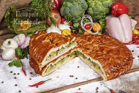 Пирог с курицей и брокколи - Фото