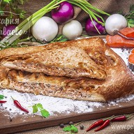 Пирог слоеный с семгой и горбушей Фото