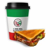 Сэндвич клаб + капучино Фото