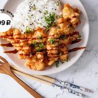 Лосось тонкацу с рисом Фото