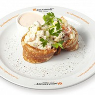Блинчики с салатом Оливье (масленица) Фото