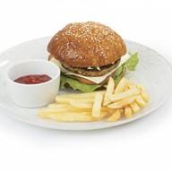 Чикен-бургер+картофель фри Фото